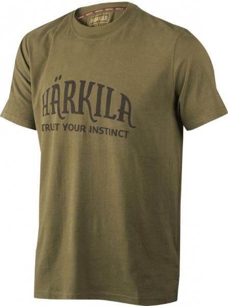 Harkila dark olive - bawełniana koszulka z logo Harkila