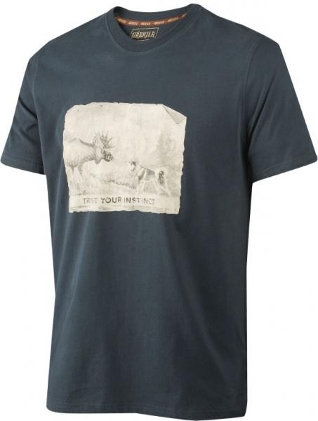 Odin dark navy - koszulka łoś i pies 100% bawełna
