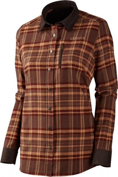 Pajala Lady burgundy check - ciepła koszula z flaneli zapinana na zatrzaski