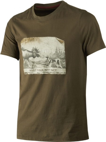 Odin willow green - koszulka łoś i pies 100% bawełna