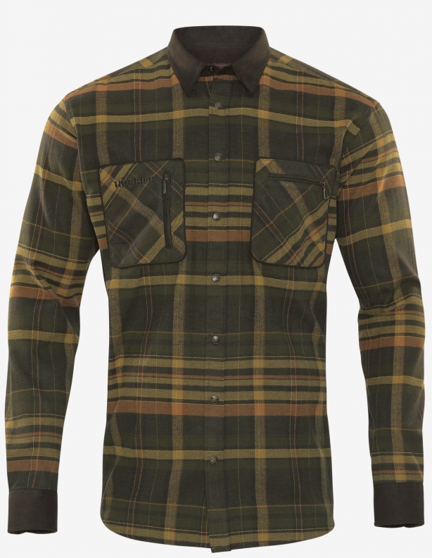 Pajala green / brown - ciepła flanelowa koszula Harkila 100% bawełna