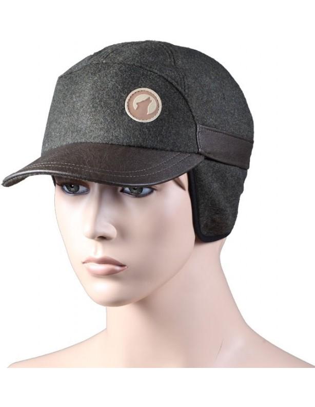 JAGER - ocieplana czapka z daszkiem wykończenia skórzane