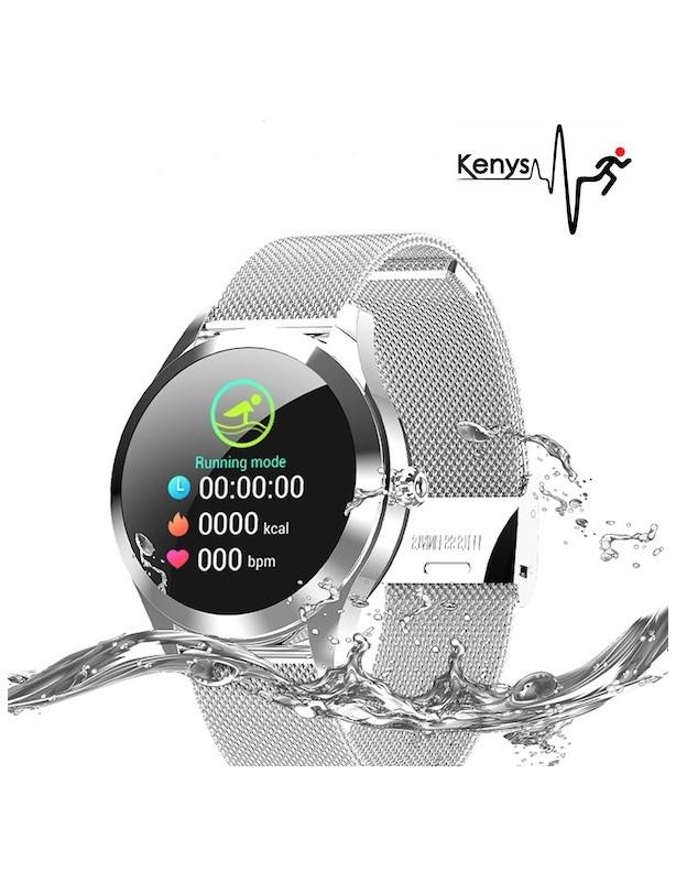 Kenys RR V2 Wodoodporny, damski zegarek z ciśnieniomierzem i pulsometrem - srebrny.