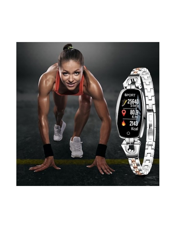 Zegarek damski RR-V4 z ciśnieniomierzem i pulsometrem srebrny