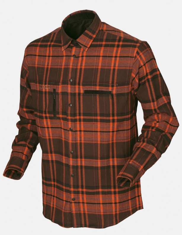 Eide - ciepła koszula flanelowa, kolor orange check