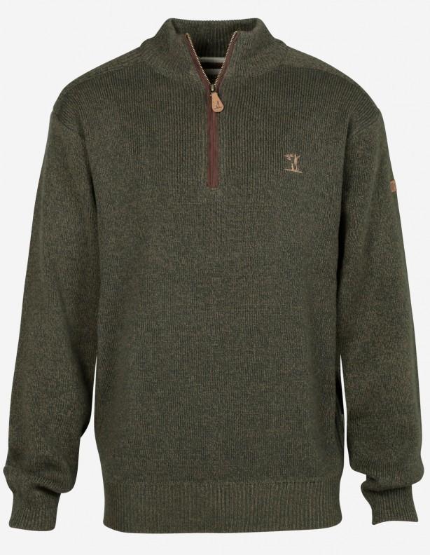 Sweter 1566 zapinany pod szyję na suwak 70% akryl 30% wełna
