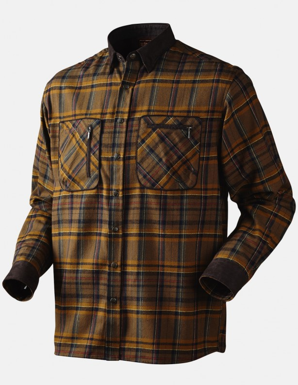 Pajala tobacco check - ciepła flanelowa koszula rozmiar L!