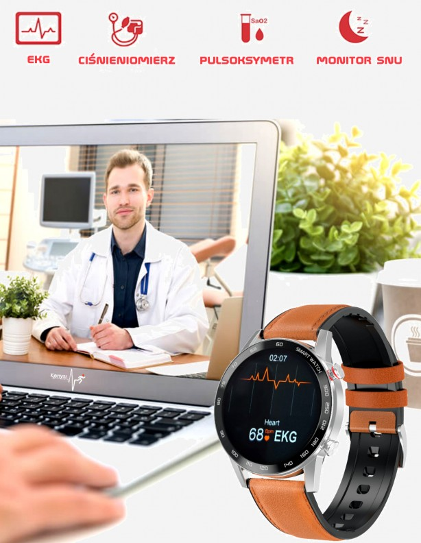 Zegarek Kenys EKG S5HD srebrny skóra