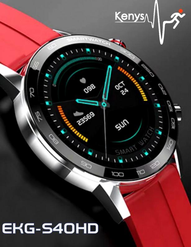 Zegarek Kenys EKG-S40 HD srebrny z czerwonym paskiem