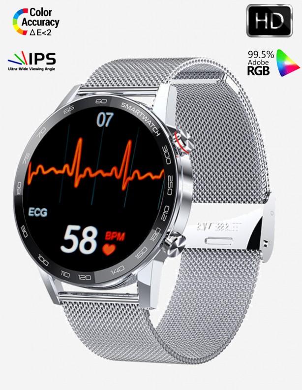 Zegarek Kenys EKG-S40 HD srebrny ze srebrną bransoletką