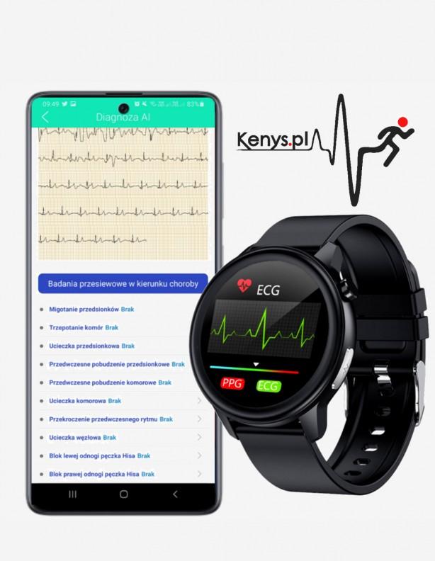Wodoodporny zegarek Kenys EKG-V50 z czarnym paskiem skórzanym