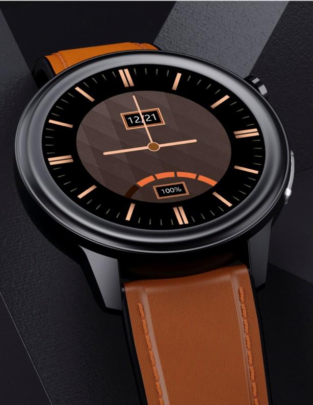 Zegarek Kenys EKG-V50 z brązowym paskiem skórzanym