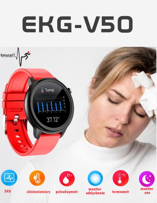 Zegarek Kenys EKG-V50 z czerwonym paskiem silikonowym