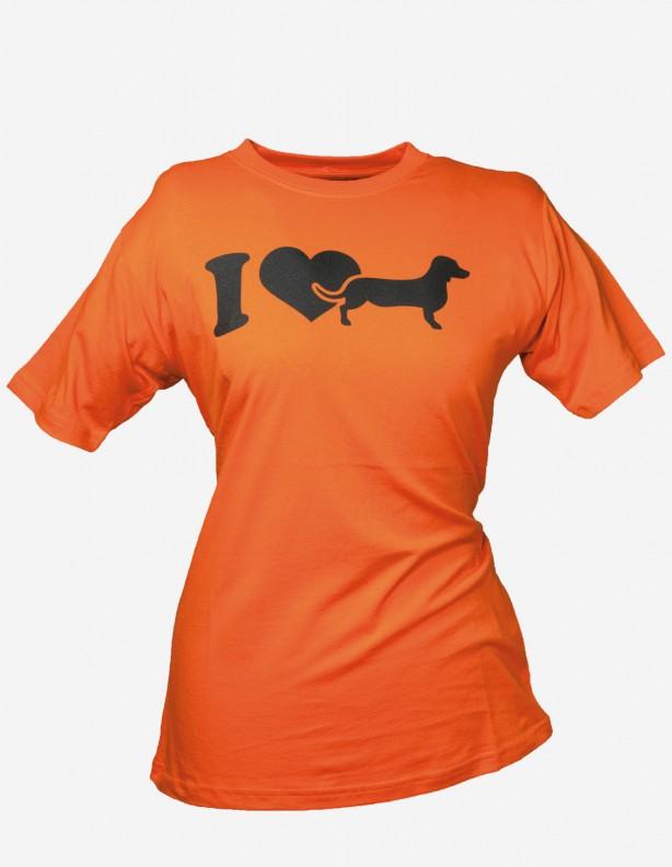 Koszulka damska z jamnikiem pomarańczowa