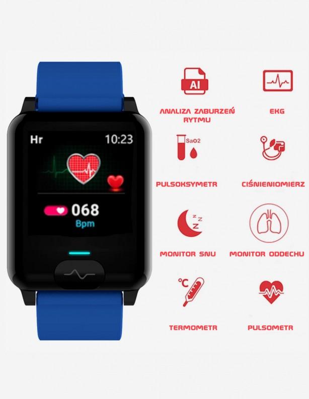 Zegarek Kenys Kardiowatch V-60 niebieski z ładowarką