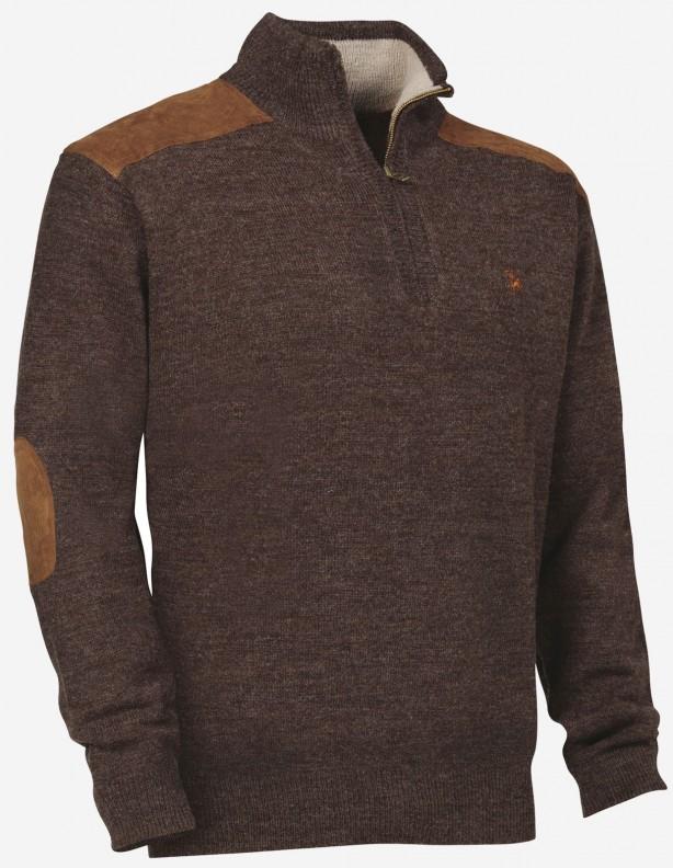Sweter Fox zip z myśliwym 30% wełna