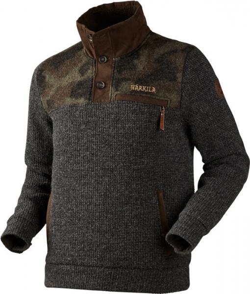 Rodmar grey / camo - gruby sweter z wysokim kołnierzem