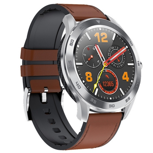 Kenys Wodoodporny zegarek EKG-S1 srebrny z brązowym paskiem