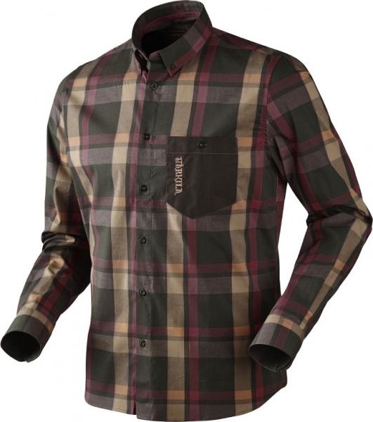 Amlet - cienka koszula z długim rękawem burgundy/brown