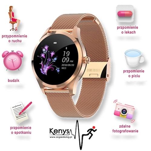 Kenys RR V2 Wodoodporny, damski zegarek z ciśnieniomierzem i pulsometrem - złoty.