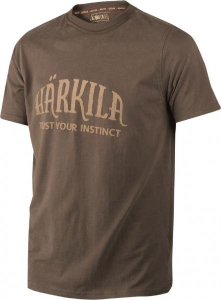 Harkila slate brown - bawełniana koszulka z logo Harkila