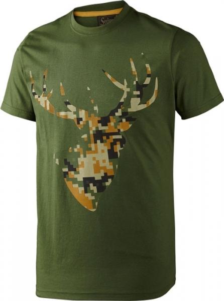 Camo Stag bottle green - letnia koszulka z jeleniem