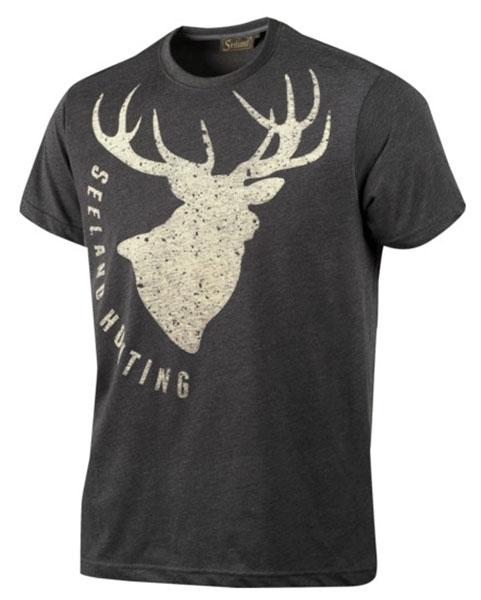 Fading Stag dark grey - letnia koszulka z jeleniem