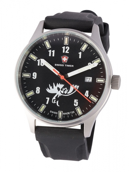 Zegarek myśliwski Swiss Timer z łosiem JahtiJakt