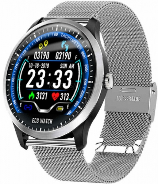 Kenys V4 zegarek/smartwatch z pomiarem EKG - srebrna branzoleta