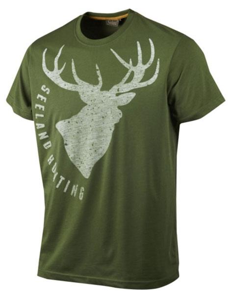 Fading Stag bottle green - letnia koszulka z jeleniem