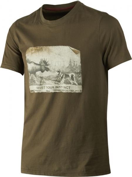 Odin willow green - bawełniana koszulka łoś i pies